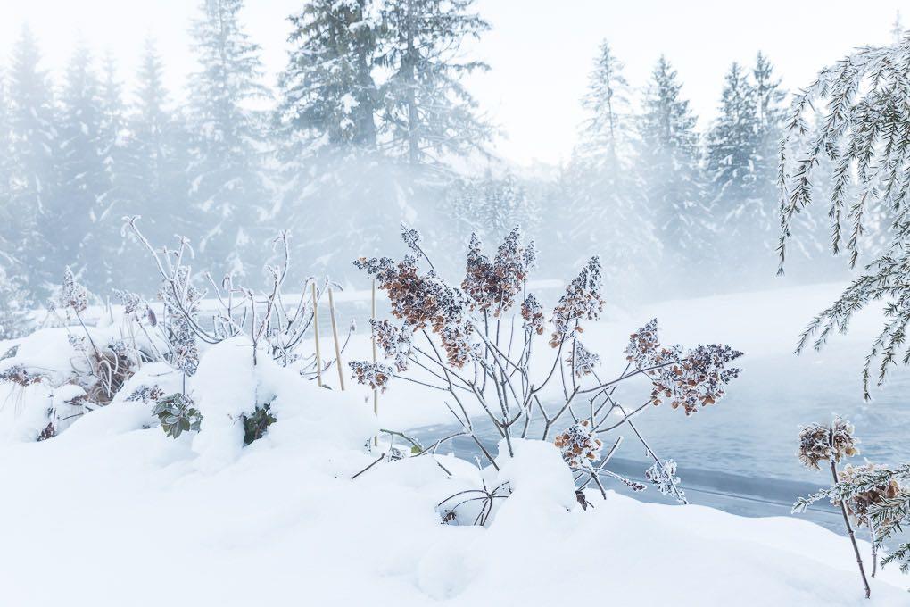 Winter-Stimmung am Onsen Pool im Kranzbach